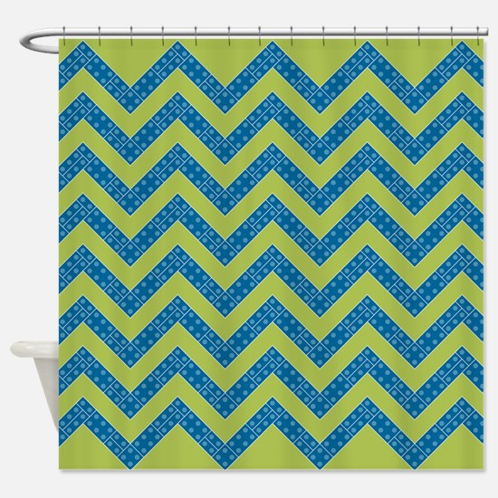 Blue Lime Boy Chevrons Shower Curtain