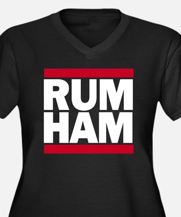 Rum Ham DMC_ Women's Plus Size Dark V-Neck T-Shirt