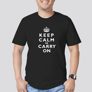 KEEP CALM or CARRY ON wt Men's Fitted T-Shirt (dar