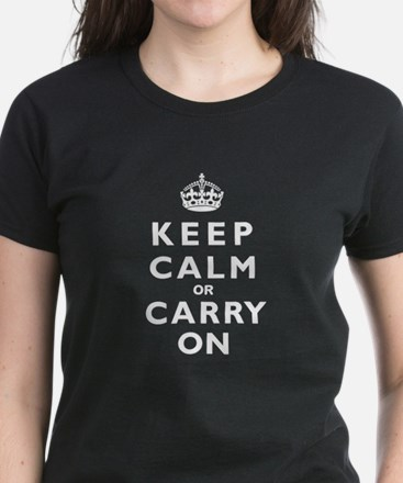 KEEP CALM or CARRY ON wt Women's Dark T-Shirt