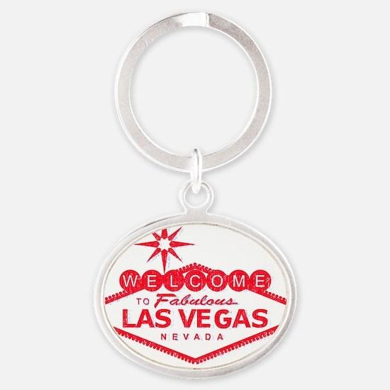 vegasRED Oval Keychain