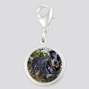 Field of Cattle Dog Silver Round Charm