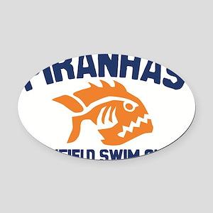 piranhas white solid Oval Car Magnet