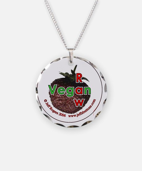 Raw vegan (strawberry) Necklace Circle Charm