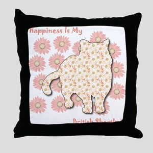 Shorthair Happiness Throw Pillow
