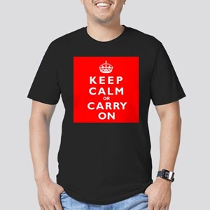 KEEP CALM or CARRY ON wr Men's Fitted T-Shirt (dar