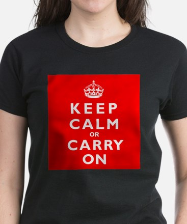 KEEP CALM or CARRY ON wr Women's Dark T-Shirt