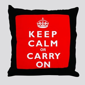 KEEP CALM or CARRY ON wr Throw Pillow