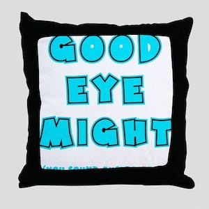 blue2, Good Eye Might, hot mustard Throw Pillow