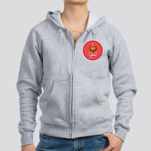 09-valentine-square-and-button Women's Zip Hoodie