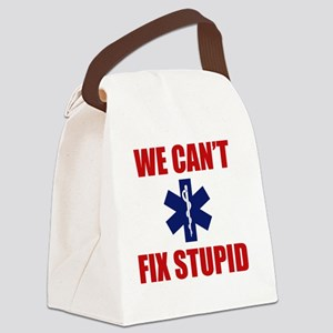 we Can't Fix Stupid Canvas Lunch Bag