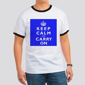 KEEP CALM and CARRY ON blue Ringer T