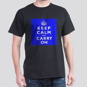 KEEP CALM and CARRY ON blue Dark T-Shirt