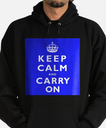 KEEP CALM and CARRY ON blue Hoodie (dark)