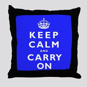 KEEP CALM and CARRY ON blue Throw Pillow