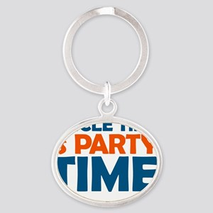 uncle time is party time Oval Keychain