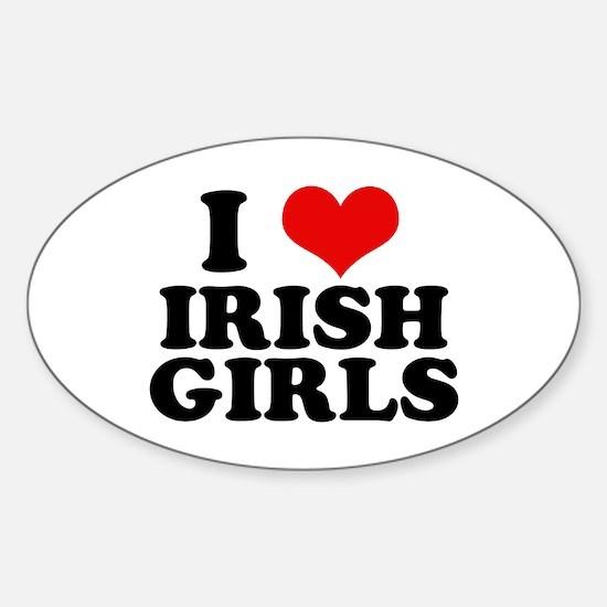 I Heart Irish Girls Red Oval Decal