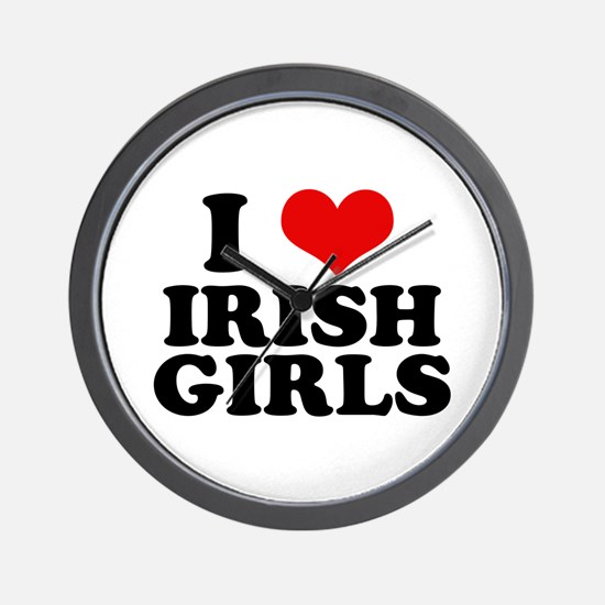 I Heart Irish Girls Red Wall Clock