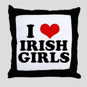 I Heart Irish Girls Red Throw Pillow