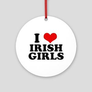 I Heart Irish Girls Red Ornament (Round)