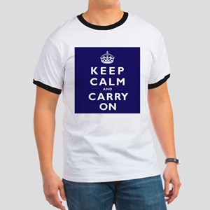 KEEP CALM and CARRY ON dark blue Ringer T