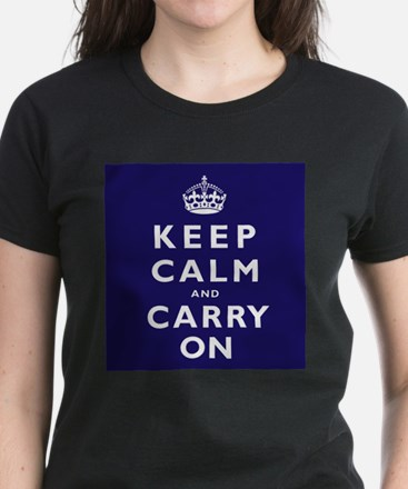 KEEP CALM and CARRY ON dark blue Women's Dark T-Sh