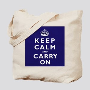 KEEP CALM and CARRY ON dark blue Tote Bag