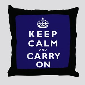 KEEP CALM and CARRY ON dark blue Throw Pillow