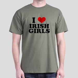 I Heart Irish Girls Red Dark T-Shirt