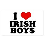I Love Irish Boys Red Heart Rectangle Sticker