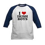 I Love Irish Boys Red Heart Kids Baseball Jersey
