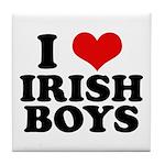 I Love Irish Boys Red Heart Tile Coaster