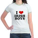 I Love Irish Boys Red Heart Jr. Ringer T-Shirt