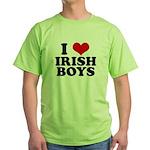 I Love Irish Boys Red Heart Green T-Shirt