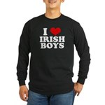 I Love Irish Boys Red Heart Long Sleeve Dark T-Shi