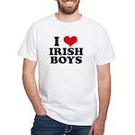 I Love Irish Boys Red Heart White T-Shirt
