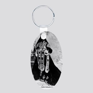 Selassie and Lion pics 007 Aluminum Oval Keychain