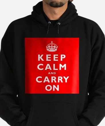 KEEP CALM and CARRY ON original red Hoodie (dark)
