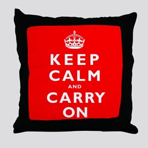 KEEP CALM and CARRY ON original red Throw Pillow