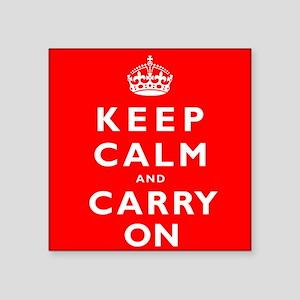 KEEP CALM and CARRY ON original red Square Sticker