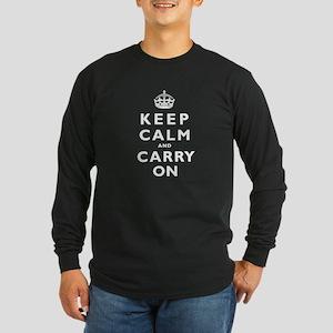 KEEP CALM and CARRY ON Long Sleeve Dark T-Shirt