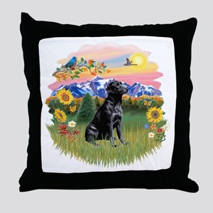 Mt Country - Black Lab Throw Pillow
