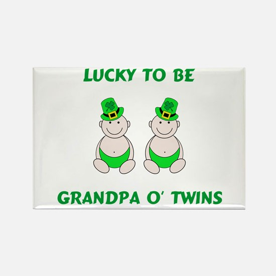 Grandpa O' Twins Rectangle Magnet