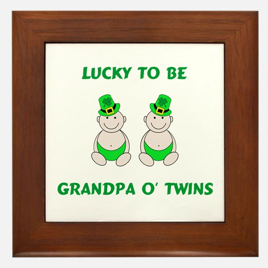 Grandpa O' Twins Framed Tile