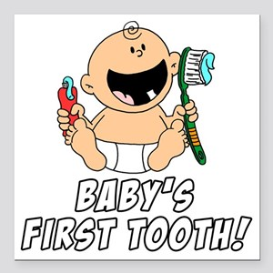 """Babys First Tooth Square Car Magnet 3"""" x 3"""""""