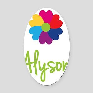Alyson-Heart-Flower Oval Car Magnet