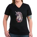 Unicorn Cameo Women's V-Neck Dark T-Shirt