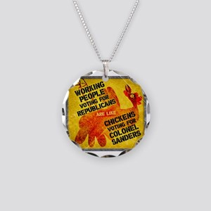 Working People Voting Repug  Necklace Circle Charm