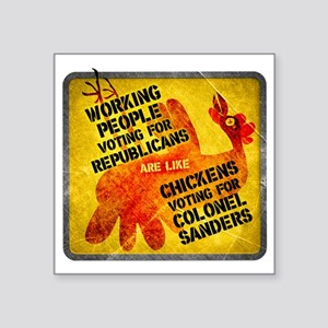 "Working People Voting Repug Square Sticker 3"" x 3"""