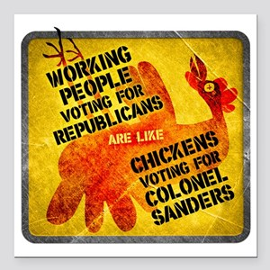 "Working People Voting Re Square Car Magnet 3"" x 3"""
